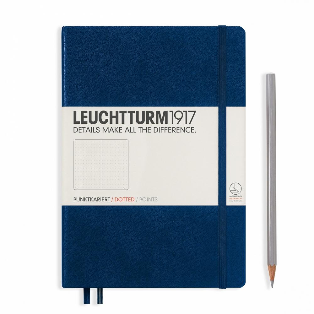 Lt342925,Leuchtturm notitieboek medium 145x210 dots / bullets marineblauw