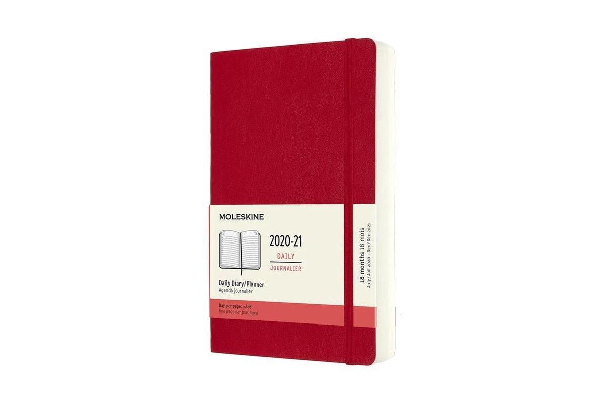 ,Moleskine 18 MND Agenda - 2020/21 - Dagelijks - Large (13x21 cm) - Scarlet Red - Zachte Kaft