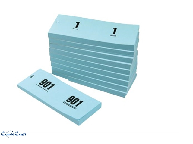 ,Nummerblok 42x105mm nummering 1-1000 blauw 10 st