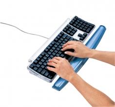 , Polssteun toetsenbord Fellowes Crystals gel transparant blauw