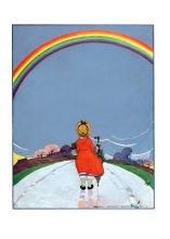 Girl Walking on Path Beneath Rainbow Encouragement Greeting Cards [With Envelope]