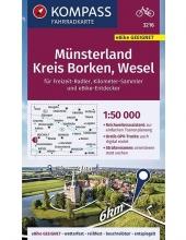 , KOMPASS Fahrradkarte Münsterland, Kreis Borken, Wesel 1:50.000, FK 3216