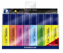 , Markeerstift Staedtler 364 Textsurfer set à 6 stuks assorti + 2 geel gratis