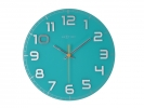 ,Wandklok NeXtime dia. 30 x 3.5 cm, glas, turquoise, `Classy Round`