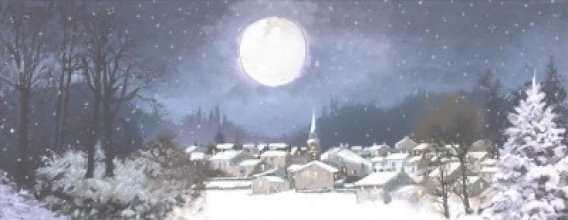 Moonlit Village Panoramic Boxed Holiday Cards