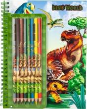 , Dino world kleurboek met kleurpotloden