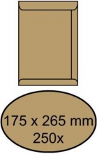 , Envelop akte 175x265mm zelfklevend 90gr bruin 250stuks