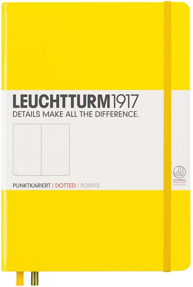Lt344800,Leuchtturm notitieboek medium 145x210 puntjes lemon geel