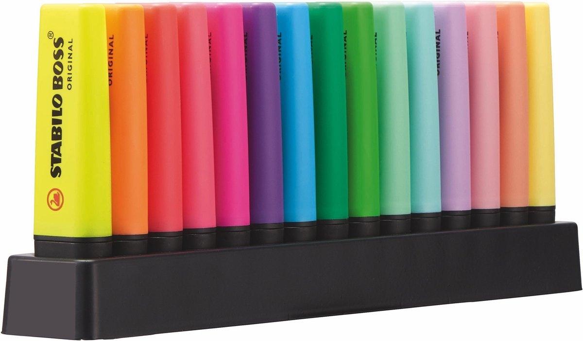 ,Markeerstift STABILO Boss Original deskset à 15 kleuren