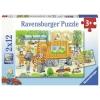 Rav 076178 , Puzzel onderweg met de vuilniswagen en veegwagen - 2 x 12 - ravensburger