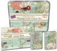 ,<b>Speelkaarten en dobbelstenenset in tinnen doos - vintage map</b>