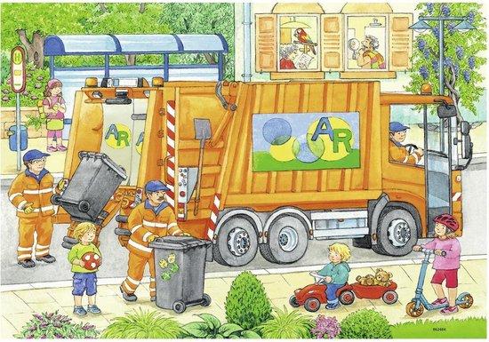 Rav 076178,Puzzel onderweg met de vuilniswagen en veegwagen - 2 x 12 - ravensburger