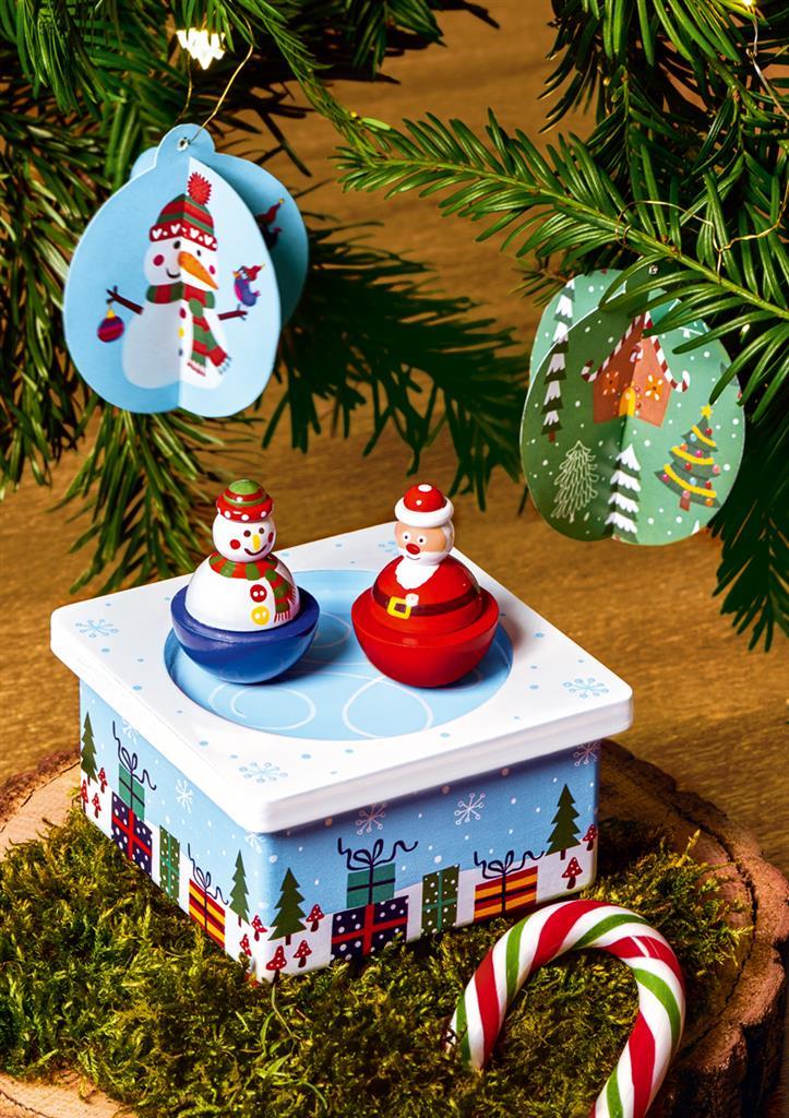 ,Houten speeldoos kerst