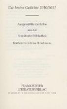 Frankfurter Bibliothek Die Lyrik des 21. Jahrhunderts. Dritte Abteilung Die besten Gedichte 2010/2011: Ausgewählte Gedichte aus der Frankfurter Bibliothek