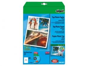 , inkjetpapier Sigel A4 190g Foto papier zijdenmat pak a 20   blad