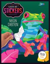 , Kleuren met stickers - Neon dieren