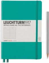 Lt344790 , Leuchtturm notitieboek medium 145x210 lijn emerald groen
