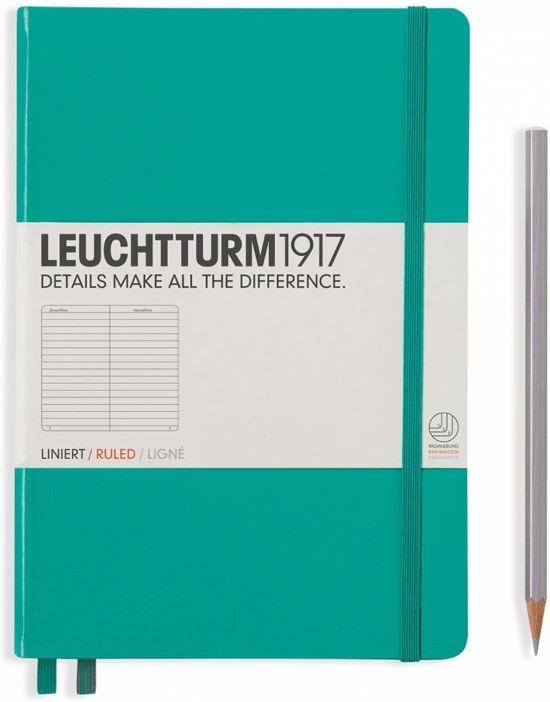 Lt344790,Leuchtturm notitieboek medium 145x210 lijn emerald groen
