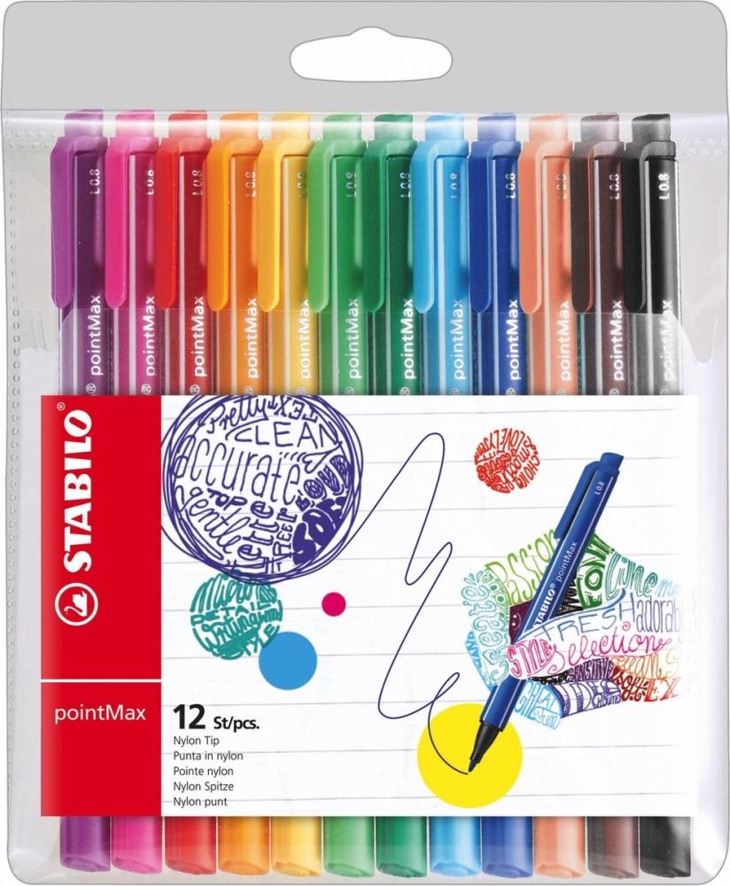 ,Viltstift STABILO pointmax 488 etui à 12 kleuren