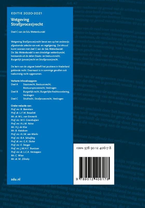 ,Sdu Wettenbundel Straf(proces)recht. Editie 2020-2021