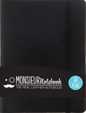 Hide Stationery Ltd Monsieur Notebook Black Leather Plain Small