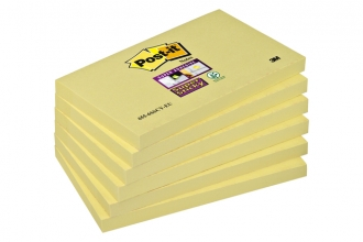 , Memoblok 3M Post-it 655 Super Sticky 76x127mm geel