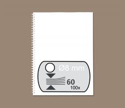 , Draadrug Fellowes 8mm 34-rings A4 wit 100stuks