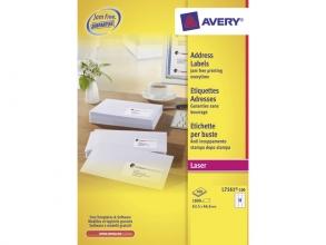 , adresetiket Avery QuickPeel 63,5x46,6 wit 100 vel 18        etiketten per vel