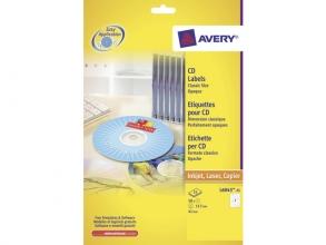 , CD etiket Avery 117mm classic size 25 vel 2 etiketten per   vel wit
