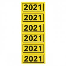 , Rugetiket Elba 2021 geel met zwarte opdruk