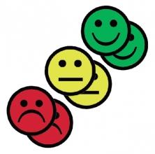 , Magneet smiley 25mm 2x geel 2x groen 2x rood