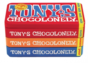 , Chocolade Tony`s Chocolonely reep 180gr in blik puur-melk en karamel zeezout