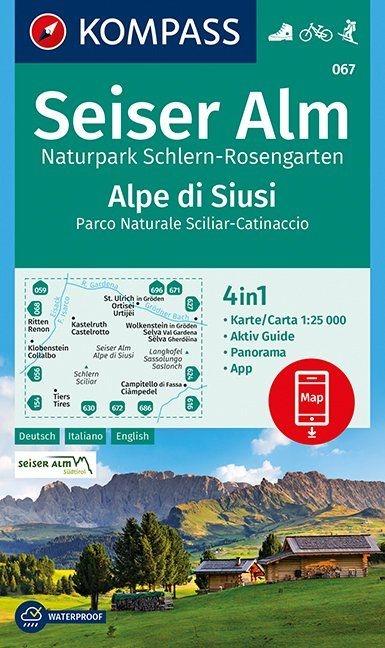 ,Seiser Alm, Naturpark Schlern-Rosengarten, Alpe di Siusi 1:25 000