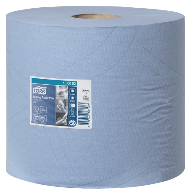 ,Poetsrol Tork W1 130052 2laags 23,5cmx255m 2rollen blauw