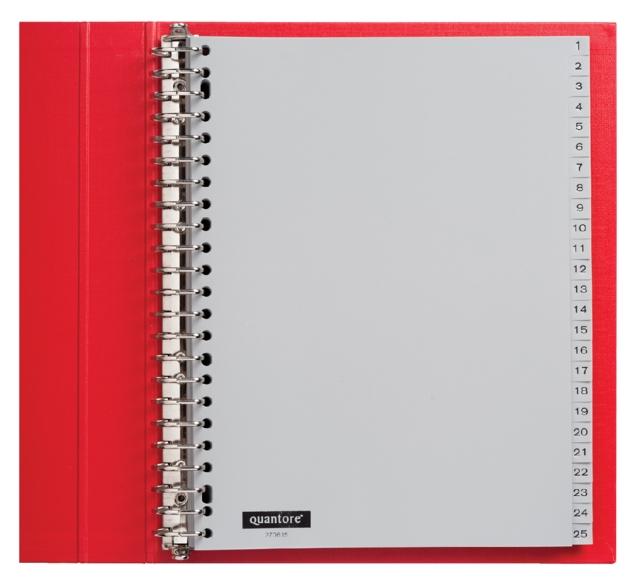 ,Tabbladen Quantore 23-gaats 1-100 genummerd grijs PP