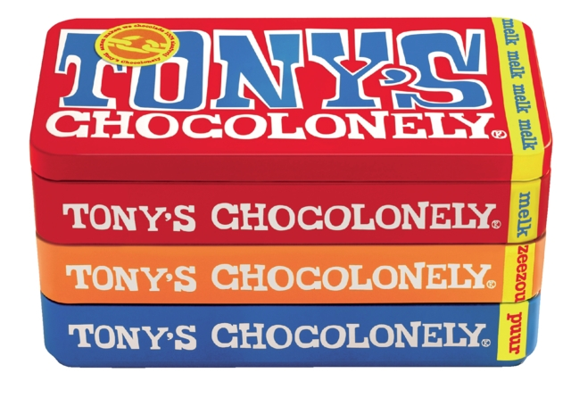 ,Chocolade Tony`s Chocolonely reep 180gr in blik puur-melk en karamel zeezout