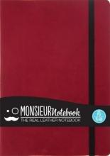 Hide Stationery Ltd Monsieur Notebook Leather Journal - Red Plain Medium