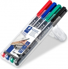 , Viltstift Staedtler Lumocolor 317 permanent M set à 3 +1 stuk gratis