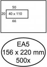 , Envelop Hermes EA5 156x220mm venster 4x11links zelfkl 500st