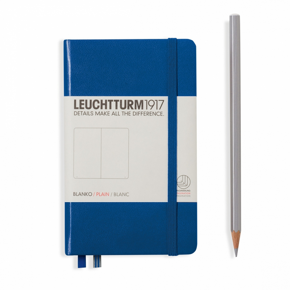 Lt344751,Leuchtturm notitieboek pocket 90x150 blanco koningsblauw