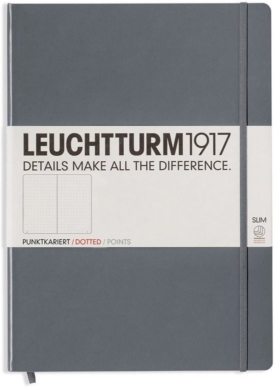 ,Leuchtturm notitieboek master slim a4 points bullets antraciet