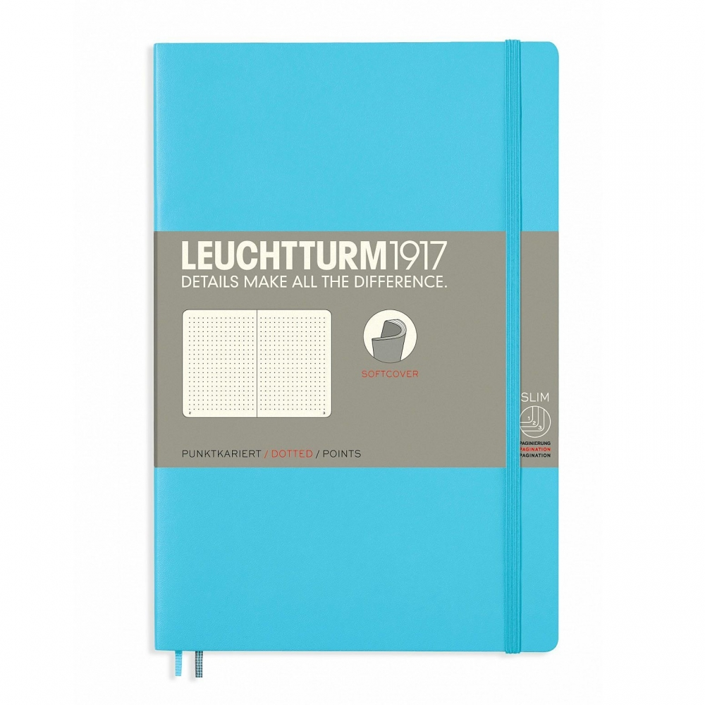 Lt358312,Leuchtturm notitieboek softcover 19x12.5 cm bullets/dots/puntjes ice blue