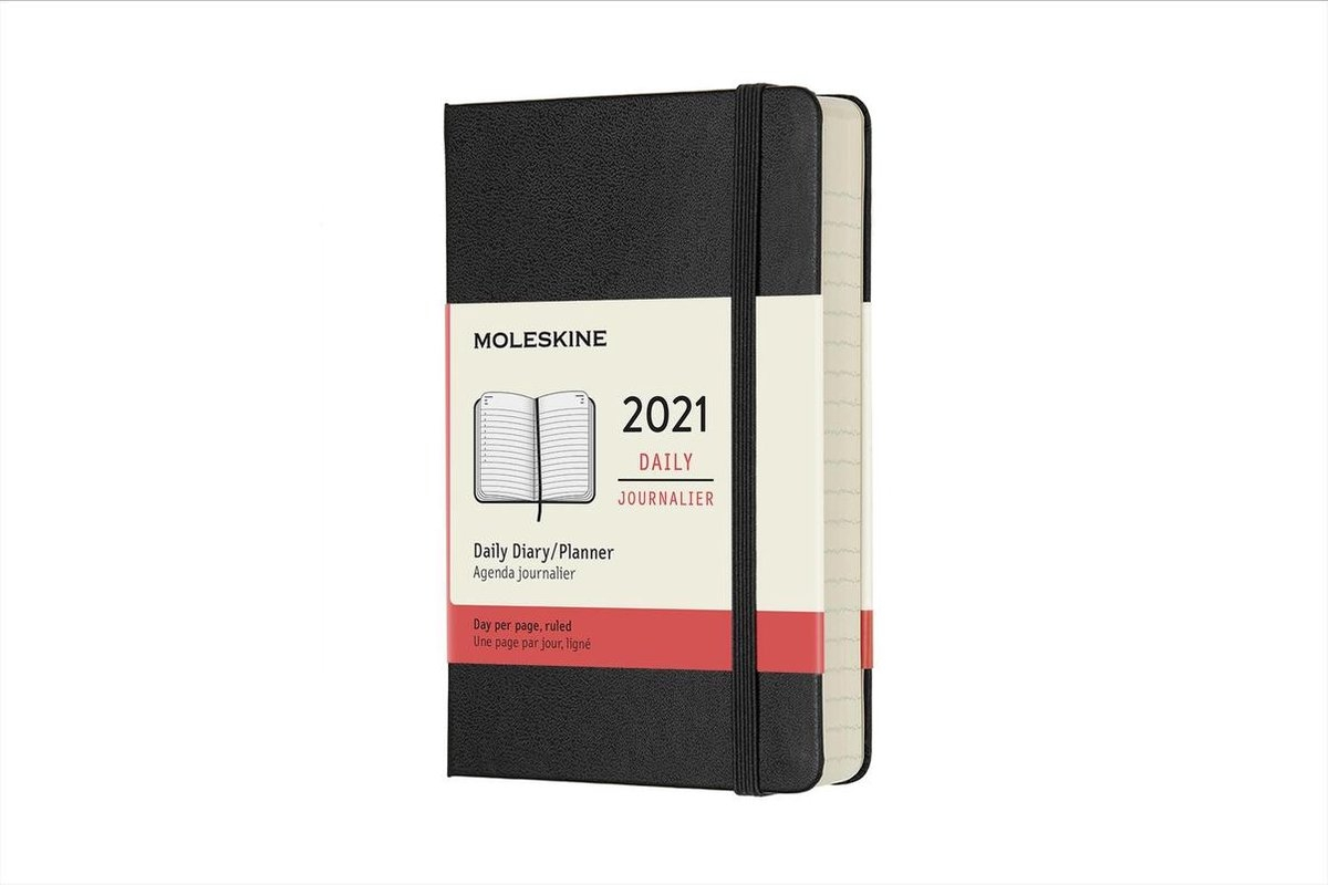 ,Moleskine 12 MND Agenda - 2021 - Dagelijks - Pocket (9x14 cm) - Zwart - Harde Kaft