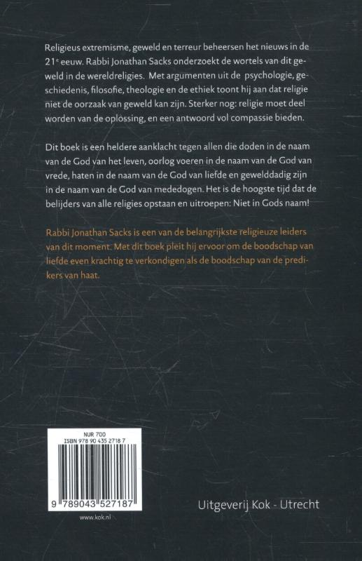 Jonathan Sacks,Niet in Gods naam