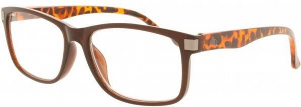 Kcd315 , Leesbril icon clear brown front with demi temples, gunmetal rivet 2.50