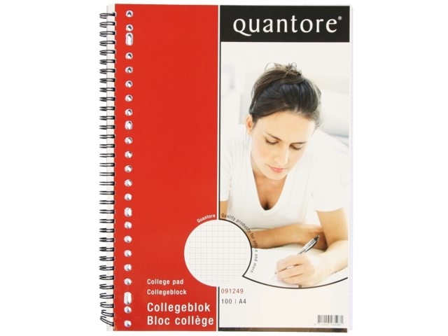 ,Collegeblok Quantore A4 23-gaats ruit 5mm 100vel