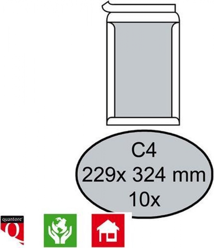 ,Envelop Quantore bordrug C4 229x324mm zelfkl. wit 10stuks