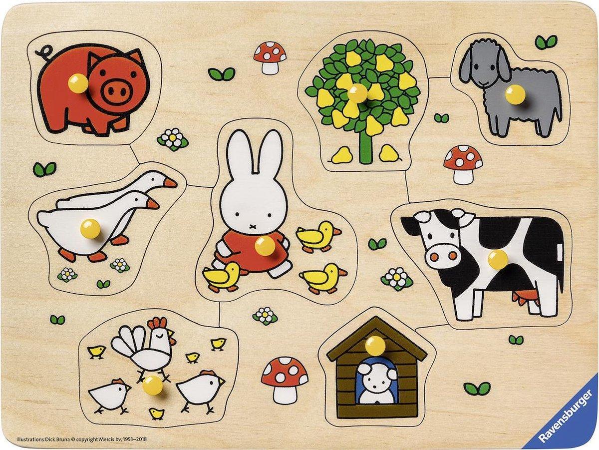 Rav-036882,Houten puzzel nijntje op de boerderij 8 stuks