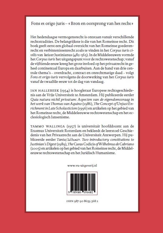 Jan Hallebeek, Tammo Wallinga,Fons et origo iuris Versio Belgica