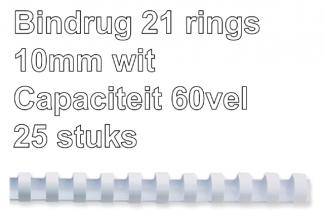 , Bindrug Fellowes 10mm 21rings A4 wit 25stuks